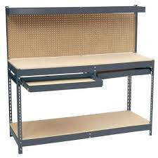 Garage Shelving Home Depot edsal 60 in h x 72 in w x 24 in d steel workbench with pegboard