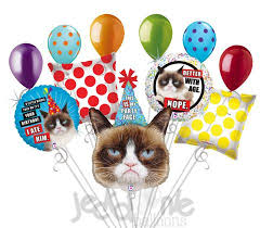 birthday balloons for him grumpy cat happy birthday balloon bouquet jeckaroonie balloons