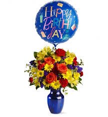 flowers and balloons happy birthday flower my friend flower vase with balloon