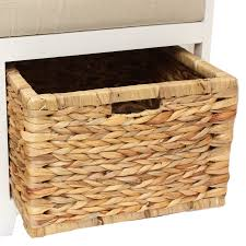 Seagrass Bench Home Hallway Bathroom Bench Seat With Seagrass Wicker Storage