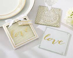 kate aspen wedding favors gold glass coaster by kate aspen