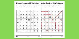 number bonds to 20 word search number bonds numeracy maths