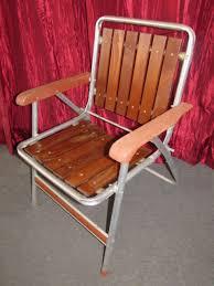Vintage Aluminum Folding Chairs Lot Detail Super Cool Retro Aluminum Lawn Chair With Redwood