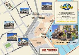 Cabo San Lucas Mexico Map by Captain Tony U0027s Bar U0026 Grill Los Cabos Guide