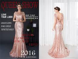 rose gold sequins short sleeve women prom dresses mermaid beads
