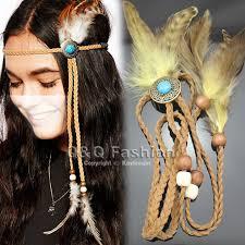 turkey feather headband indian turkey blue bead leather crown feather navajo zuni