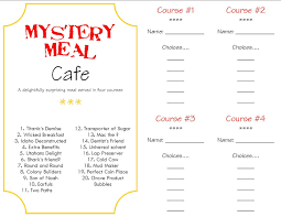 mystery dinner menus make a memory mystery dinner program