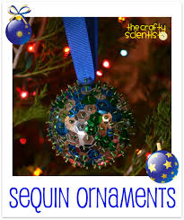 the crafty scientist sequin ornaments tutorial