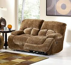 fawn casual velvet brown ultra plush love seat with power motion
