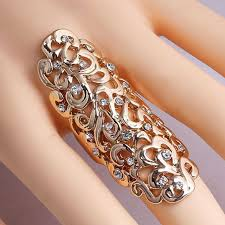fashion long rings images Women jewelry totem pattern rings selection gothic punk joint jpg