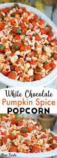 thanksgiving mix pumpkin spice popcorn recipe with white chocolate festive fall snack