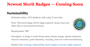 Family Merit Badge Worksheet Answers Boy Scouts Require Sustainability Merit Badge For Eagle Rank