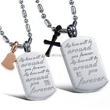 Personalized Dog Tags For Couples Couple Cross Necklace Ebay