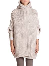 brunello cucinelli hooded cashmere cardigan in natural lyst