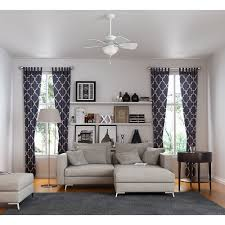 living room hunter ceiling fans with white ceiling wall and grey