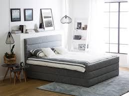 light grey upholstered bed 160 x 200 cm valbonne beliani fr