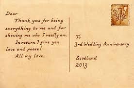 3rd wedding anniversary personalised third 3rd wedding anniversary 4 x6 postcard style