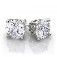 diamond earrings 1 40 ctw cut diamond stud earrings in 14k white gold vs h i