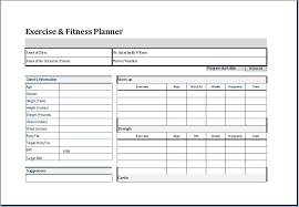 exercise planner template free exercise chart printable exercise