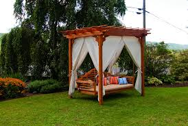 Field Bench Minimalist Wooden Arbor Design With Pergola Roof And Swing Bench