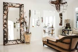 splashy leaner mirror in living room shabby chic with white floor