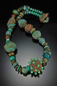 bead necklace images images Beaded bead necklace turquoise patina julie powell design jpg