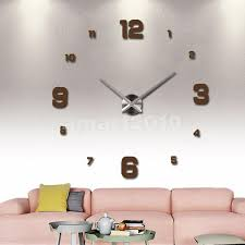 wall decals stickers home decor home furniture diy diy modern mirror style wall vinyl decal wall clock sticker art decor brown