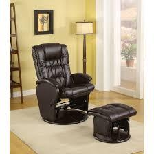 modern black vinyl glider armchair with ottoman compact recliner