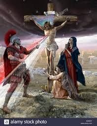 jesus on the cross roman piercing his chest stock photo royalty
