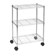 3 Shelf Wire Rack Sortwise 3 Heavy Duty Chrome Plated Steel Frame With Wheels Or