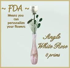 White Roses In A Vase Second Life Marketplace Fda Single White Rose In Silver Vase