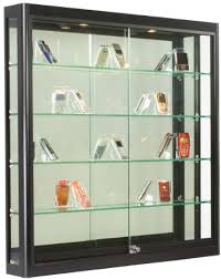 Wall Mounted Display Cabinets With Glass Doors Wall Mounted Black Aluminum Glass Display Cabinet Illuminated
