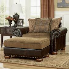 leather chair and a half with ottoman signature design by ashley briar place antique fabric faux leather