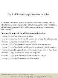 it manager resume sample top8affiliatemanagerresumesamples 150520140455 lva1 app6891 thumbnail 4 jpg cb 1432130744