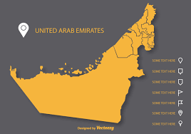 uae map vector uae flat map on gray background free vector