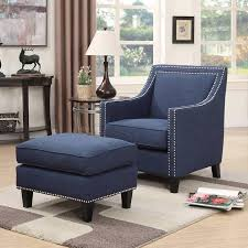 Emery Navy Blue Accent Chair With Ottoman Accent Chairs For Condo