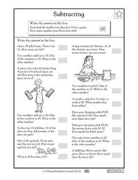 2nd grade 3rd grade math worksheets subtraction word problems 1