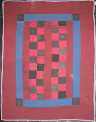 four patch bars antique crib quilt wool