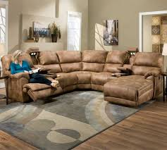 Brown Leather Sectional Sofas With Recliners Presley 572 Reclining Sectional In Almond Sofas And Sectionals