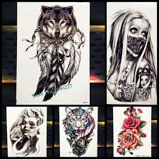 dreamcatcher wolf totem temporary stickers for