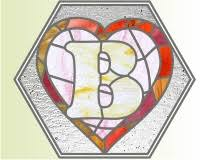 alphabet broken hearts b mosaic and stained glass pattern stained