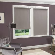 Thermal Blackout Blinds Homebasics Grey Linen Look Thermal Fabric Cordless Roller Shade