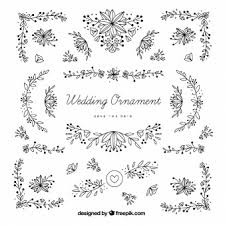 wedding ornaments with leaves cool vectors and clip