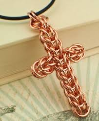 solid copper necklace images 1 large chainmaille cross pendant or necklace kit solid copper jpg