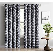 Grey And White Curtain Panels Amazon Com Hlc Me Lattice Print Thermal Insulated Blackout Window
