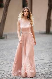 illusion lace boat neck sleeveless dusty pink long a line modest