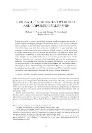 strengths strengths overused and lopsided leadership pdf