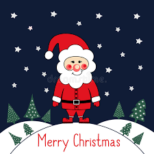 merry christmas card with cute santa claus xmas trees and stars