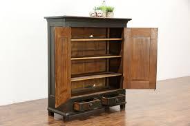 2 Door Pantry Cabinet Painted Country Pine Antique 1840 Pantry Cupboard 2 Door Cabinet