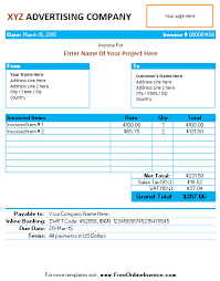 invoice template for advertising agency company office templates